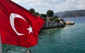 Bosphorus and Turkish Flag